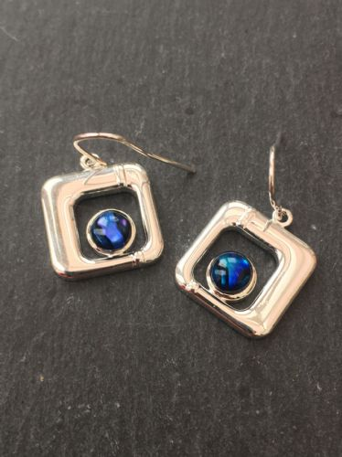 Paua Blue Earrings - Small Square PE17-SQ